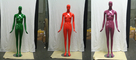 Egghead style mannequins in bright colors