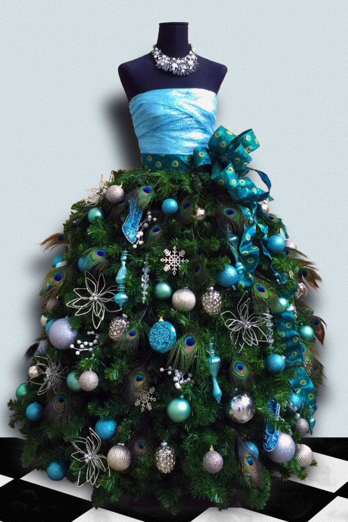 designed for us by hector villacorta at florist based in los angeles and san francisco that is him in the photo some of the dress form trees can be - Christmas Tree Dress