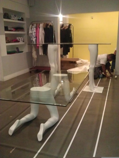 Tables Made From Mannequin Legs For Opening Ceremony Store